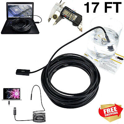 5M/17FT Plumber Pipe Inspection Camera Endoscope Video Waterproof Sewer Drai BS*