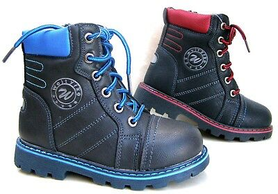 New Boys Military Combat Boots Black Zip Laces High Upper Hiking Trekking Shoes