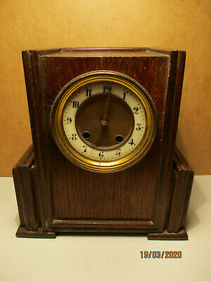 German Mauthe Early 20th Century 8 Day Mantel Oak Cased Deco Clock Spares Repair