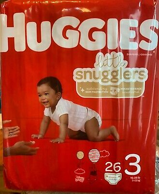 Huggies Diapers Little Snugglers Size 3 ~ 16-28 Lbs 26 Count New
