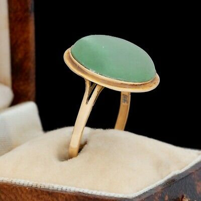 Antique Vintage Art Deco 14k Gold Chinese Carved Green Jadeite Jade Ring Sz 8