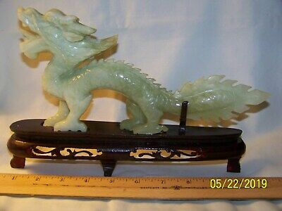 "Rare Hand Carved Light Green Chinese Jade Dragon 10"" Long 5"" High Almost 1 Wide"