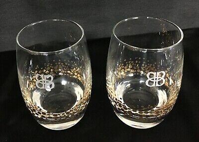 Bailey's Gold Confetti Rocks Glasses 2 Weighted Bottom