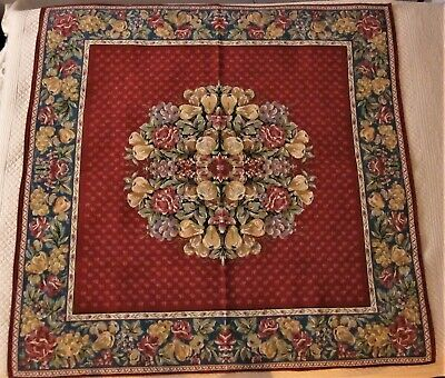 "French Goblys Tapestry Decor Table Cover 58"" Square, Floral & Fruit Design"