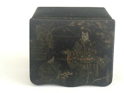 Antique Chinese Japanese Papier Mache Laquered Covered Matchbox with Court Scene