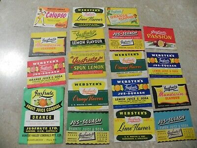 18 Mixed labels from Justfruite Cordials. Justfruite was a company located in Go