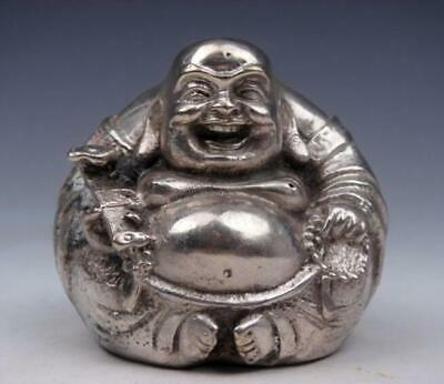 Silver Copper Crafted Sculpture Laughing Buddha Holds RU-YI Prayer Beads /Tb01