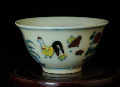 Chinese Old Collection Famille-Rose Porcelain Fowl&Peony Cup/Chenghua Mark B01