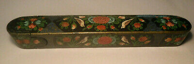 Antique Hand Painted Black Lacquered Wooden Paper Mache Writing Pen Brush Box **