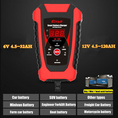 Car RV Battery Charger Auto 6V/12V Motorbike Trickle Auto Charger AGM GEL MF SLA