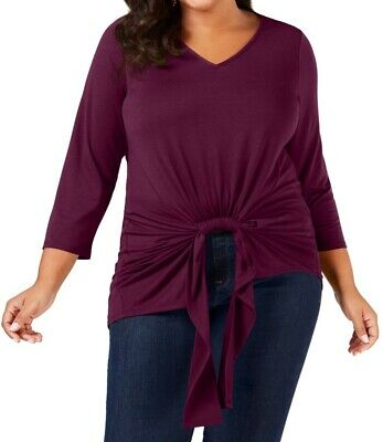 NY Collection Women's Tunic Purple Size 3X Plus Gathered-Front V-Neck $49 #274
