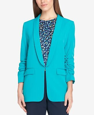 Tahari By ASL Women's Blue Size 16P Petite Ruched Sleeve Blazer $139 #339