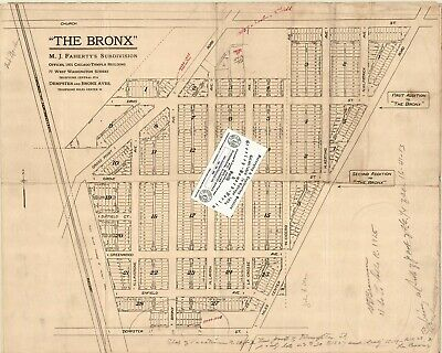 """Chicago 1920s Map For Ancestry/Genealogy & History Fans """"The Bronx"""" -Skokie, IL"""