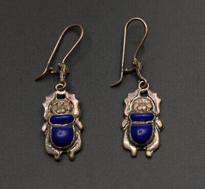 Ancient Egypt Egyptian Scarab Antiques Silver Earrings Beetle Lapis Lazuli Bc