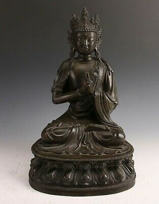 Chinese Antique Qing Dynasty Bronze Seated Buddha
