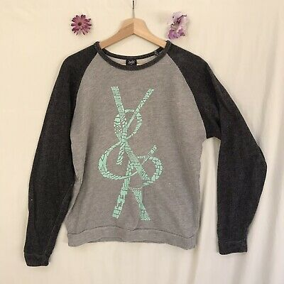 Young & Reckless Tiffany Blue Sz M Sweatshirt Sweater Grey Spell Out Black