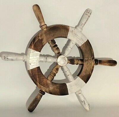 Ships Wheel Hand Carved Wood Wall Art Tiki Bar Decorations