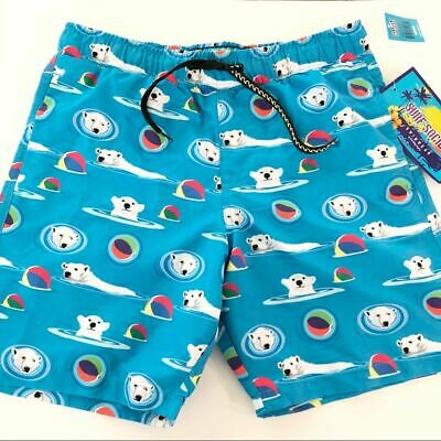 White Polar Bear Size 2XL Swim Trunks Surf Vilebrequin Mens Blue