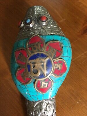 Collect China Old Miao Silver Inlay Turquoise Carve Flower Noble Conch Beautiful