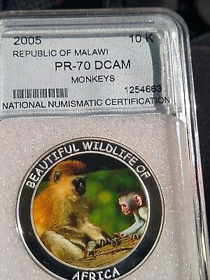 PR-70 DCAM 2005 Malawi Beautiful Wildlife of Africa Coin Monkey Colored