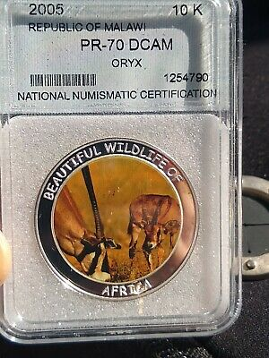 PR-70 DCAM 2005 Malawi Beautiful Wildlife of Africa Coin Oryx Colored