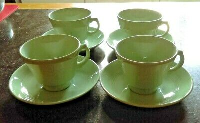 "Wood's Ware ""Beryl"" 4 Cups and Saucer Circa 1940"