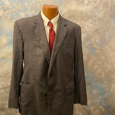 Brooks Brothers Madison Sz 43 R Gray Striped Wool Two Button Men's Blazer