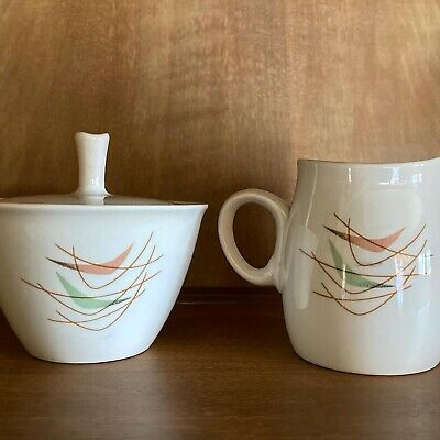 Mid Century Franciscan Swing time sugar and creamer set