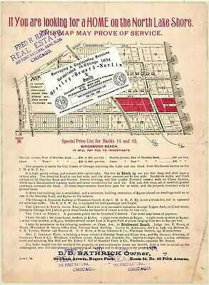 Chicago 1894 Map For Ancestry/Genealogy & History Research - Touhy & Sheridan Rd