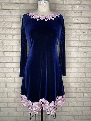 Ooak Navy Blue And Pale Pink Stretch Velvet Dress By Taissa Lada Grunge Gothic