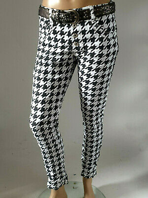 Jewelly Eye Catcher Trousers Boyfriend Baggy in Large Houndstooth Pattern