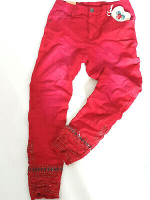 Mozzaar Great Ethno Embroidery Jeans Trousers Rhinestone Red Gr-38
