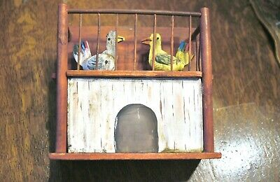 Antique Folk Art Handcarved & Painted Wood Music Box Automaton Pecking Chickens