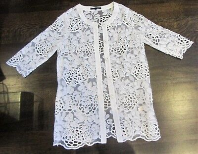 Womens Long White Lace Floral Cutout Cardigan Chic Classy Size Small Trench Coat