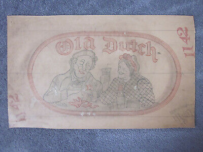 1940's Findlay Ohio OLD DUTCH Beer Logo Embroidered Patch ORIGINAL ARTWORK