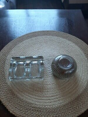 Vintage Glass Double Inkwell with Glass Sponge Holder, Good Condition