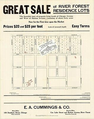 Chicago 1890 Map For Ancestry/Genealogy & History Research - River Forest Lots
