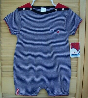 Kushies Baby Classic Grey Cotton Side Zipper Sleeper Blue Non-Slip Feet 533554