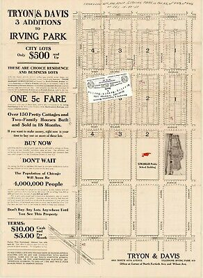 Chicago Antique 1906 Advertisement Map: Tryon & Davis 3 Additions to Irving Park