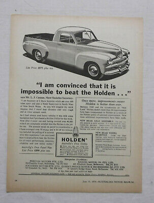 FJ Holden Utility Original Advertisement removed from a 1954 Magazine Ute b