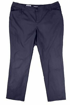 Charter Club Women's Blue Size 20W Plus Slim Leg Khakis Pants Stretch $69 #250