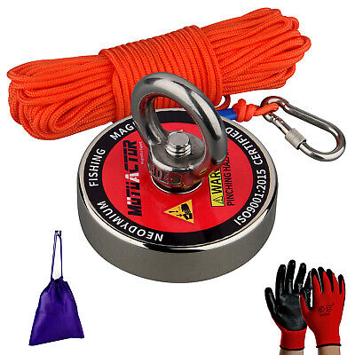 400LBS Strong Fishing Magnet Kit N52 Metal Treasure Recovery Detector 20M Tow RP