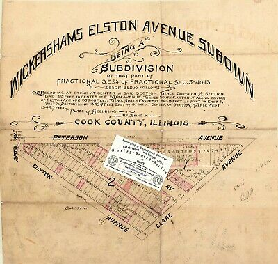 Chicago 1893 Map For Ancestry/Genealogy & History Fans- Peterson+Austin+Elston