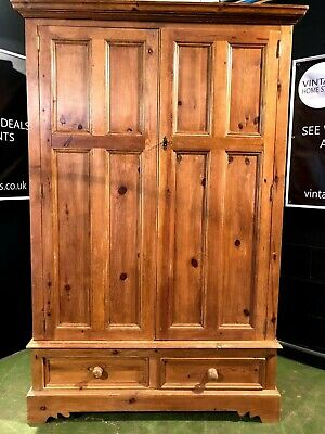 Can Deliver Large Farmhouse Solid Pine Wardrobe With Drawers Bedroom Country Wax