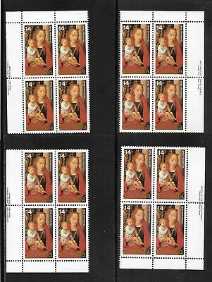 CANADA 1978 CHRISTMAS--PAINTINGS-- 14  CENTS  M.,S. of 4 PLATE BLOCKS # 773