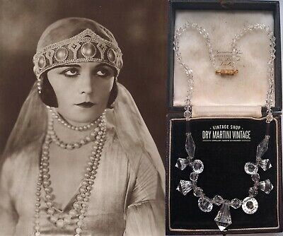 ANTIQUE ART DECO 1920s CZECH CLEAR CRYSTAL DROP NECKLACE BRIDAL OCCASION GIFT
