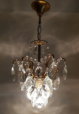 Antique Vintage Brass & Crystals Small Chandelier Lighting Ceiling Lamp Light