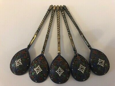 Set of 5 antique Russian silver 88 cloisonne enamel spoons, length is 4.1 inches