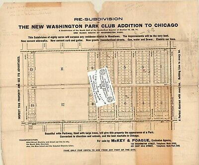 Chicago Antique 1906 Advertisement Map: Re-SUB Of New Washington Park Club ADD