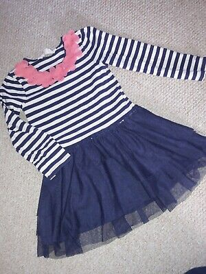 H&M Girls Dress stripe with floral corsage detail Age 4-6 years